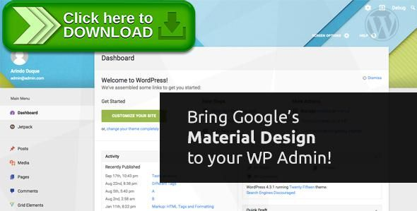 [ThemeForest]Free nulled download Material WP - Material Design Dashboard Theme from http://zippyfile.download/f.php?id=48502 Tags: ecommerce, admin, admin interface, admin theme, dashboard theme, freelance, interface, login skin, login theme, material, material design, skin, theme, wordpress admin template, wordpress backend, WP Admin