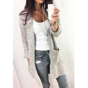 Chic Gray Collarless Long Sleeve Pocket Design Cardigan For Women (GRAY,M) in Sweaters & Cardigans | DressLily.com