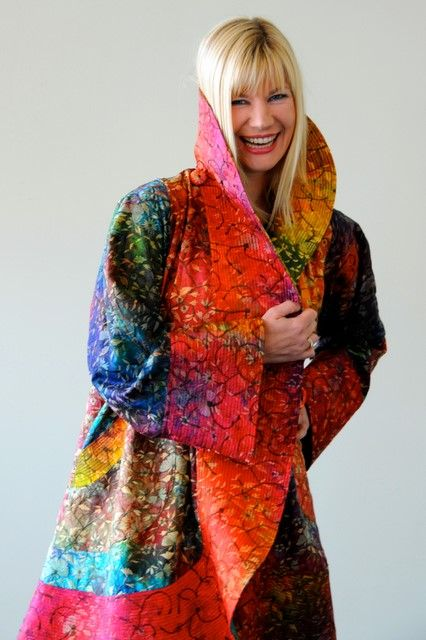 Carter   Smith  Title:  Embroidered Silk Piazza Coat  Date:  Dimensions:  Materials:  Silk  Techniques:  Shibori/Tie-Dye