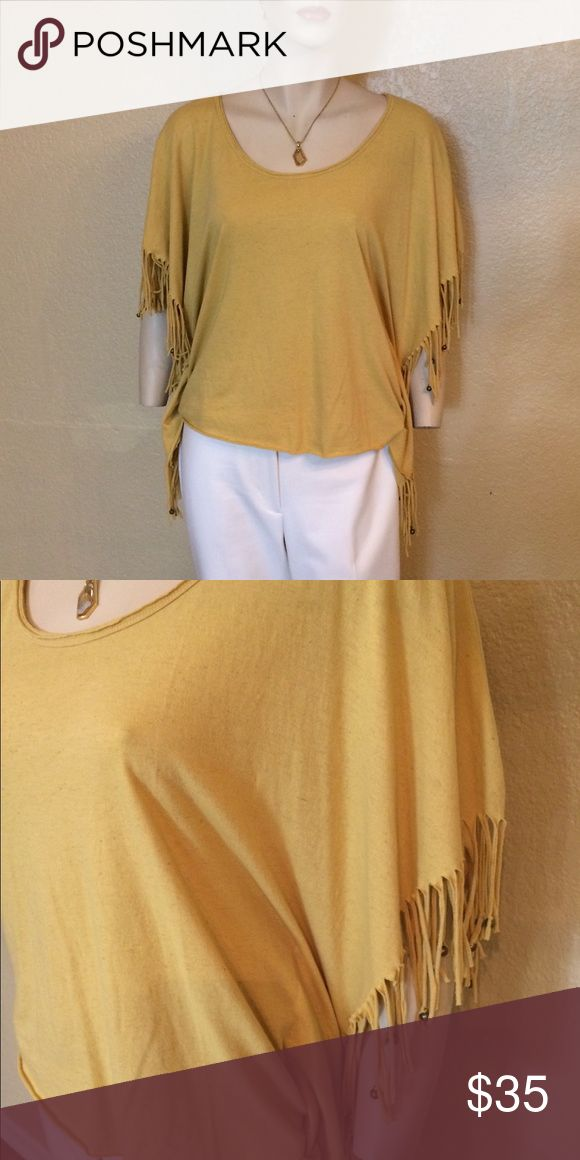 Buffalo David Britton Blouse Mustard yellow, batwing, fringed top.  50% Cotton, 38% polyester, 12% linen Has Tags Buffalo David Bitton Tops Blouses