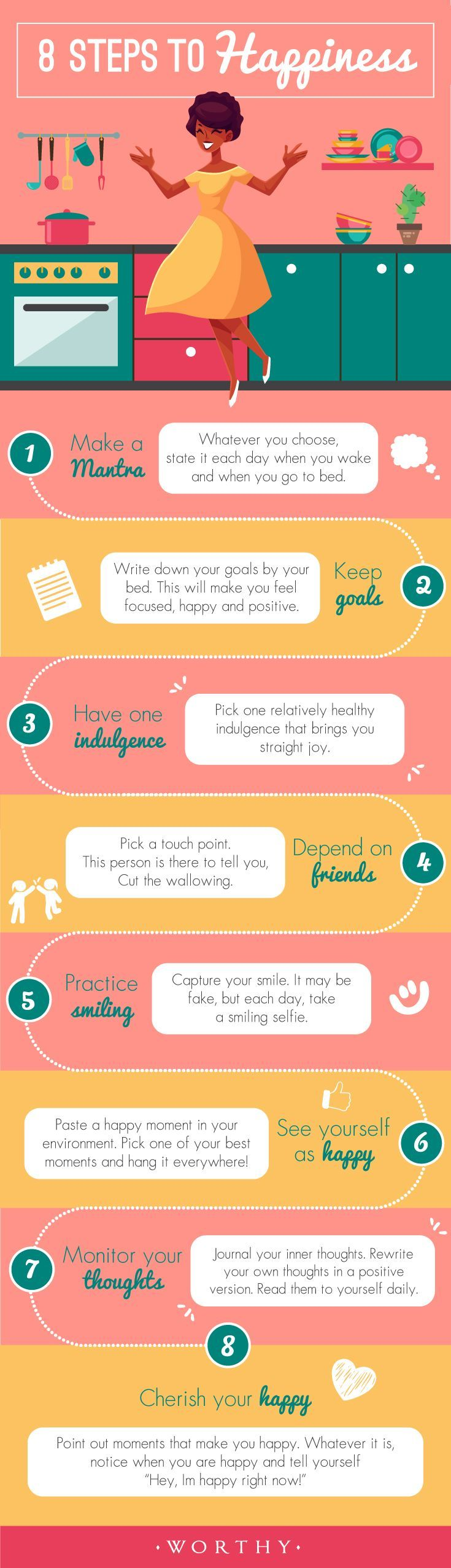 8 Steps to Happiness. Little things to do each day to make all of your days better!