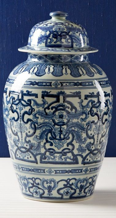 InStyle-Decor.com Chinese Blue & White Porcelain Temple Jars, Beautiful Free…