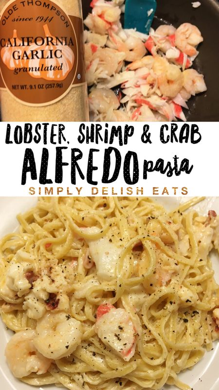 My new favorite pasta recipe. Easy, Creamy, Seafood Alfredo! Recipe with step by step instructions & images!