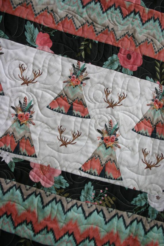 Baby girl Teepees nursery quilt southwest by TinRoofQuilters