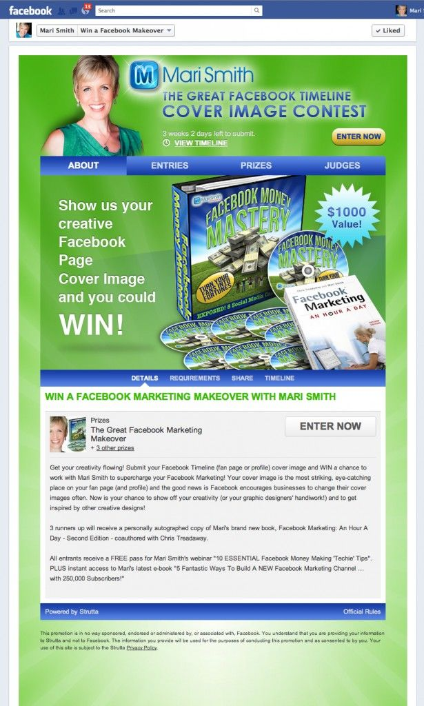 The Great Facebook Timeline Cover Image Contest! The grand prize is a FREE ticket to Mari Smith's next online training course: Facebook Money Mastery.
