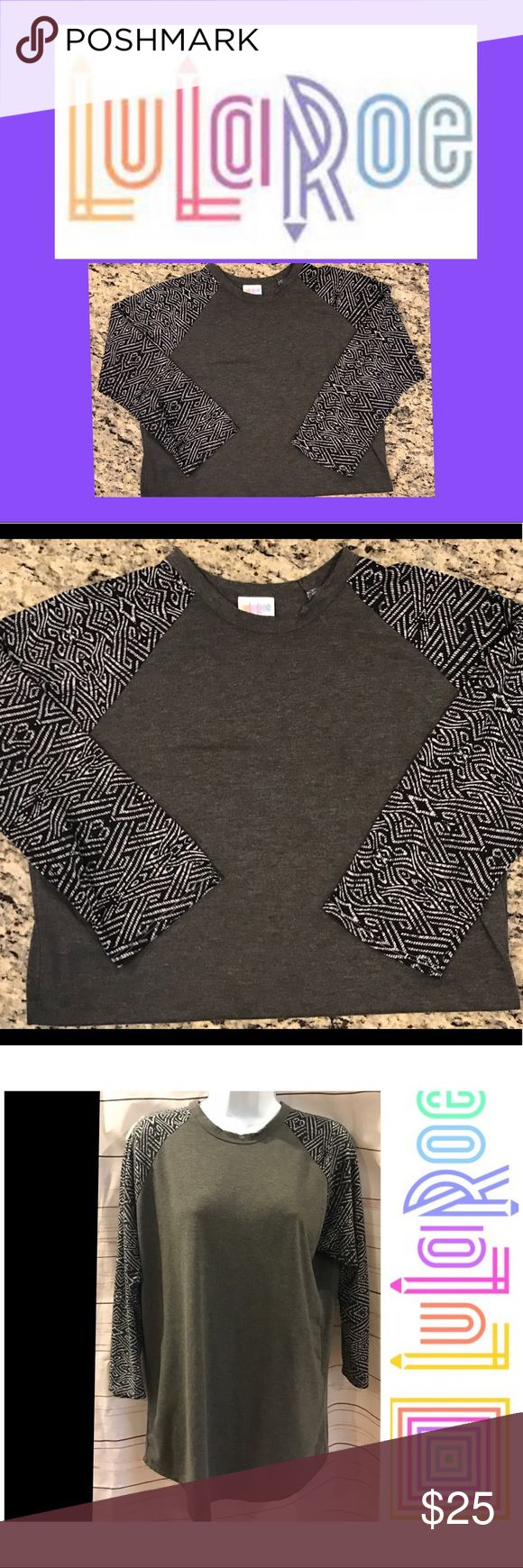 "LuLaRoe 3/4 sleeve top LuLaRoe 3/4 sleeve top. Adorable grey round neck tee shirt.  3/4 sleeves with cute Aztec design.  Poly/spandex.  Super comfortable and light!  29"" long, 21"" across chest.  EUC LuLaRoe Tops Tees - Long Sleeve"