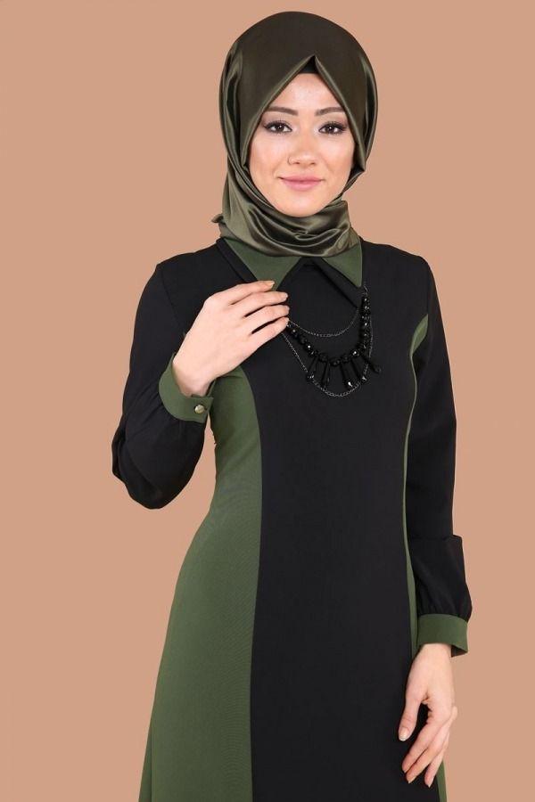 e2379454b6c60 Çift Renkli Tesettür Elbise MDS2026 Siyah&Haki | Syar i | Elbiseler ...