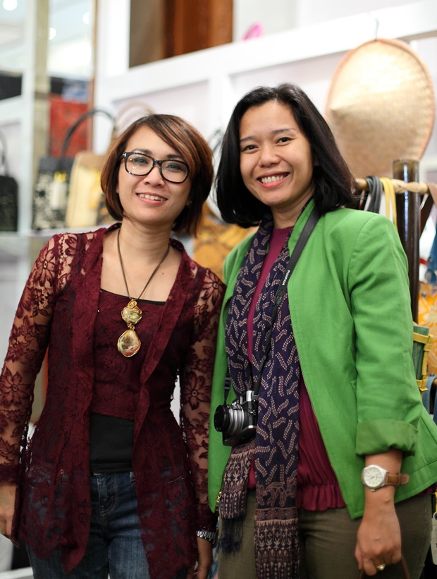 With vintage kebaya, paired with jeans and druzy-handmade necklace