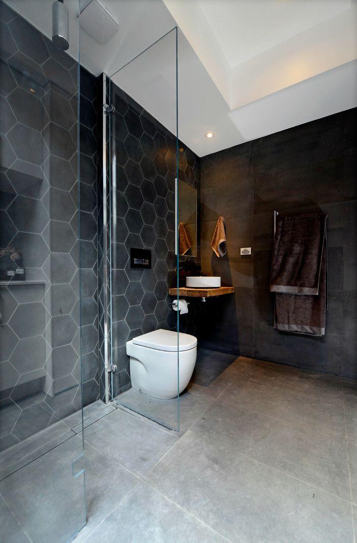 The Best Hexagon Tile Bathroom Ideas On Pinterest Hexagon - Matt black bathroom tiles