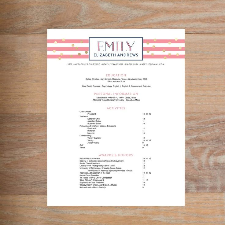 What To Include On A Social Resume For Sorority Recruitment! A Complete  Guide To The  Sorority Resume Template