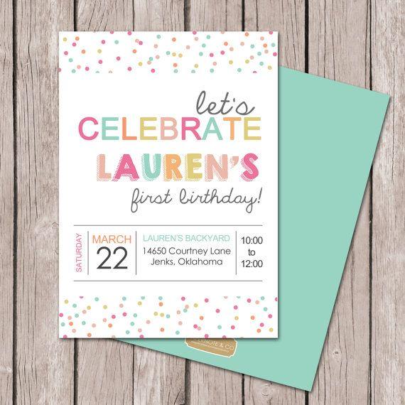 Girl Birthday Invitation // Polka Dot Party // Sprinkles Party // Baby Sprinkle Invitation // DIY Printables