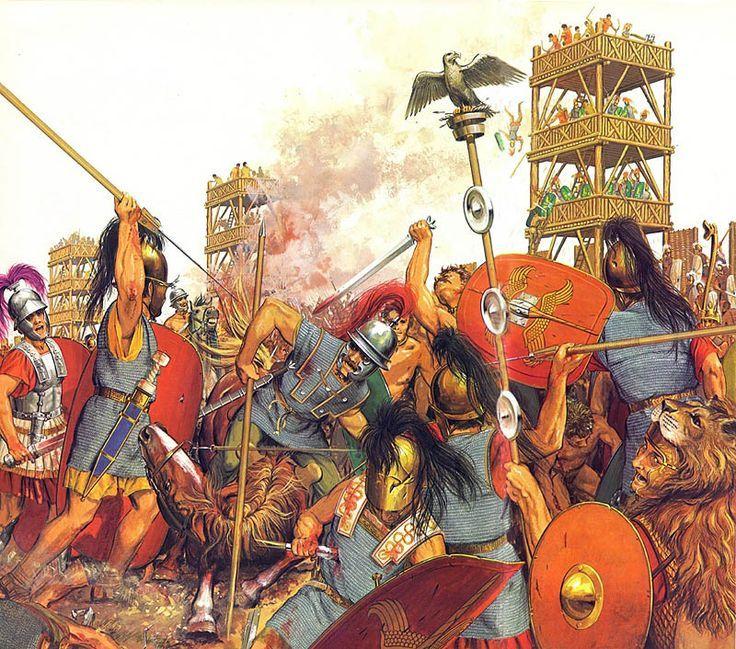 Batalla de Alesia/sitio de Alesia en septiembre del 52 a. C.,región de tribu gala los mandubios,escenario principal su capital,la fortaleza de Alesia.Probablemente sobre monte Auxois,moderna Alise-Sainte-Reine,si bien discutida.Algunos autores que no concuerda con descripción por César,sólo Chaux-des-Crotenay (en Jura, Francia) es considerada como alternativa.Sin embargo,los más recientes descubrimientos arqueológicos parecen confirmar la ubicación de Alise-Sainte-Reine como la más probable.