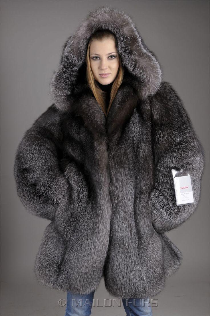 """blue frost"" fox fur parka"