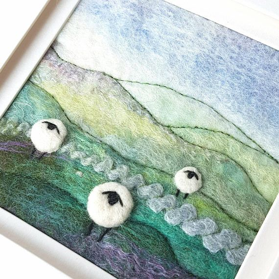 Felted Sheep landscape by Maxine Smith of Tilly Tea Dance textile artist and tutor https://www.etsy.com/uk/listing/514836074/sheep-and-heather-in-the-hills-original