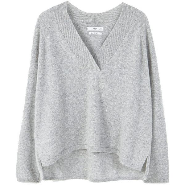 100% Cashmere Sweater ($150) ❤ liked on Polyvore featuring tops, sweaters, cashmere v neck sweater, cashmere v-neck sweater, long sleeve sweater, v-neck tops and side slit sweater
