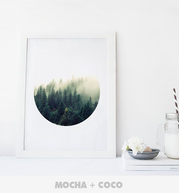 Geometric Circle Forest Art Poster, Geometric Wall Art, Startup Minimal Decoration, Printable Mocha + Coco, Intstant PRINT FILE DOWNLOAD