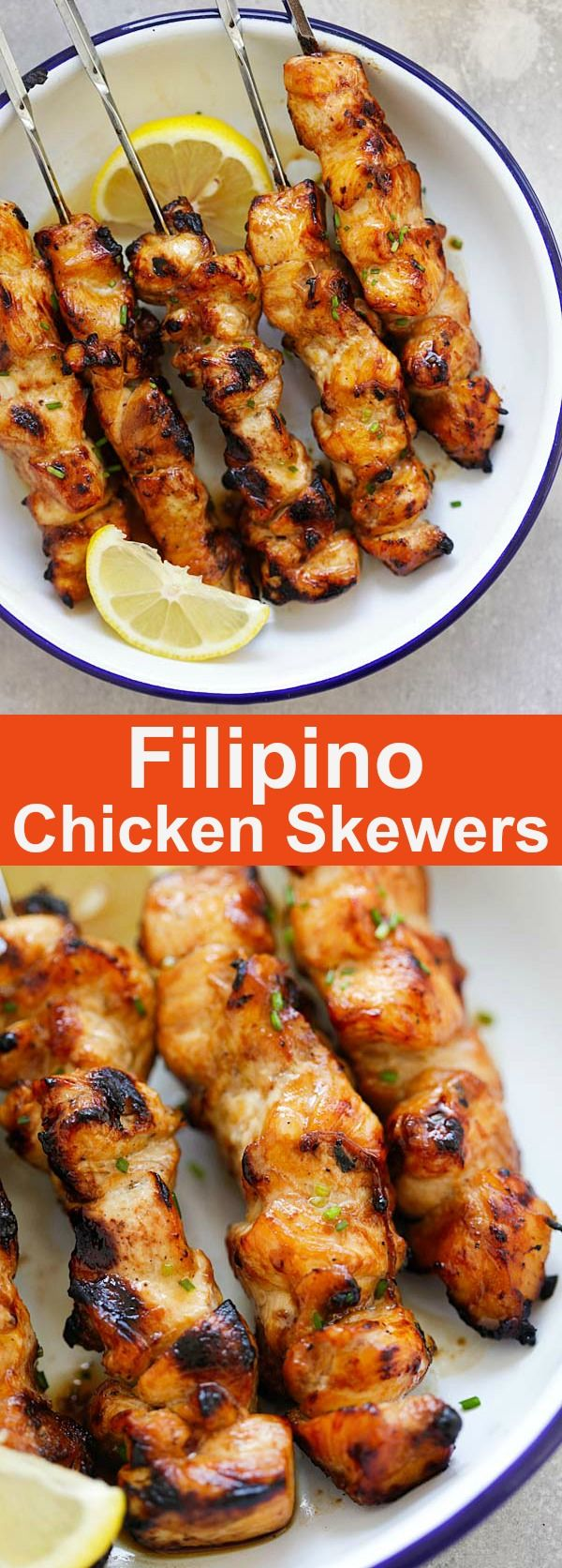 Filipino Chicken Skewers – juicy, moist and savory chicken kebab seasoned Filipino-style with soy sauce, banana ketchup and garlic. Absolutely delicious and a crowd pleaser | rasamalaysia.com