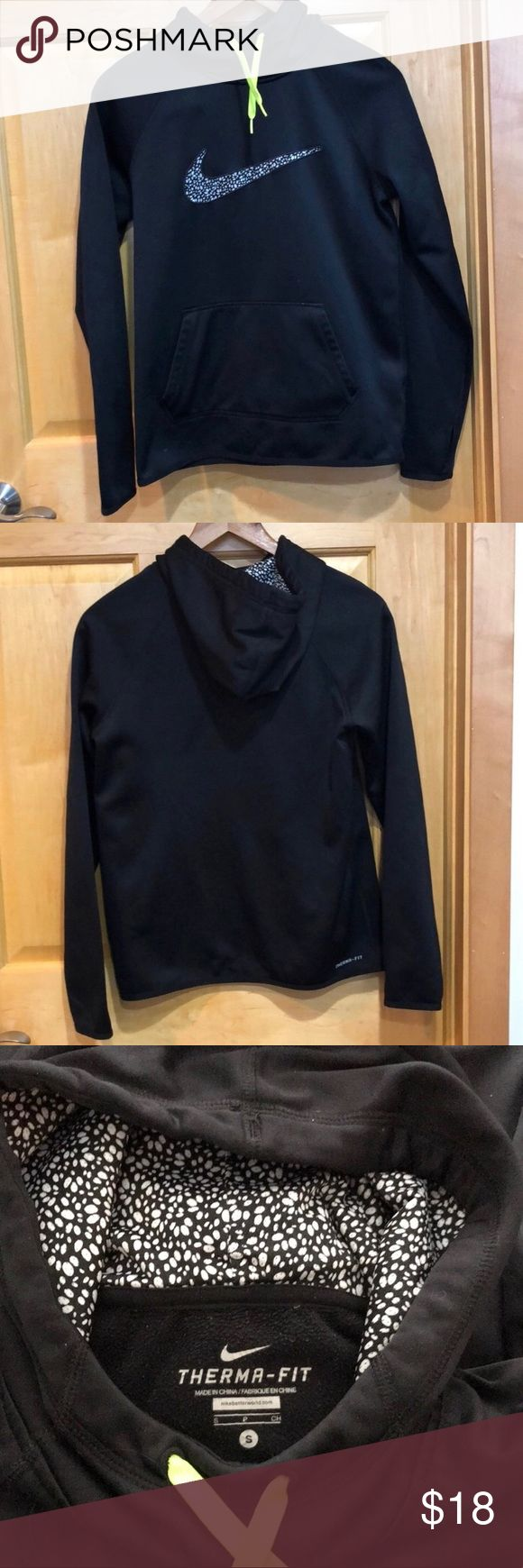Nike Black Thermo-fit Hoodie Women Nike Black Thermo-fit Hoodie Women. Nike black hoodie with black & white pattern accent in swoosh and good. High neck. Lime green drawstrings. Thumbholes. Therma-fit. Kangaroo pocket. Therma-fits are more form fitting. Nike Tops Sweatshirts & Hoodies