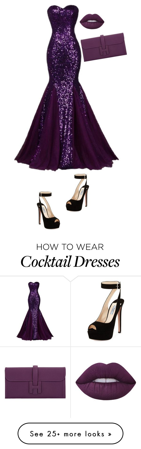 """Purple Queen"" by uniquegirlfasion on Polyvore featuring Lime Crime, Hermès and Prada"
