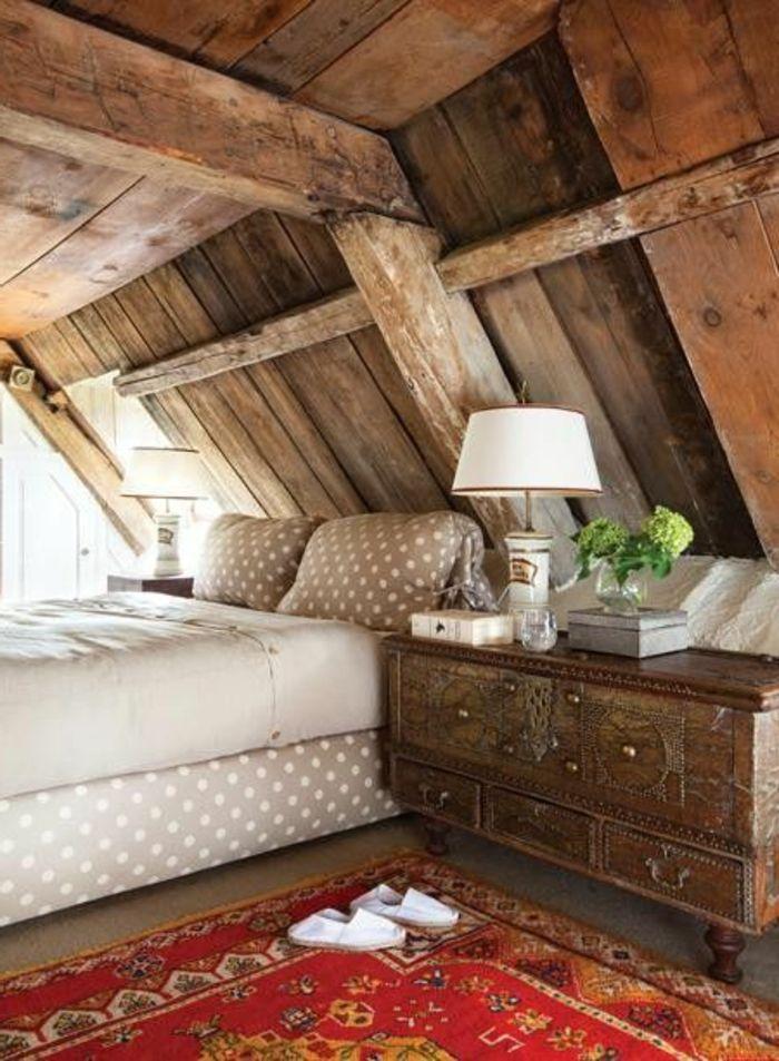 Les 25 meilleures id es de la cat gorie plafond en pente de chambre coucher - Chambre bois massif adulte ...