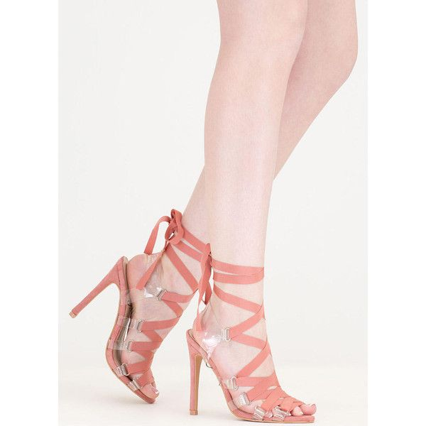Ribbon Dance Clear Lace-Up Heels ($37) ❤ liked on Polyvore featuring shoes, pumps, pink, stiletto shoes, clear high heel shoes, lace up pumps, high heel pumps and lace up shoes