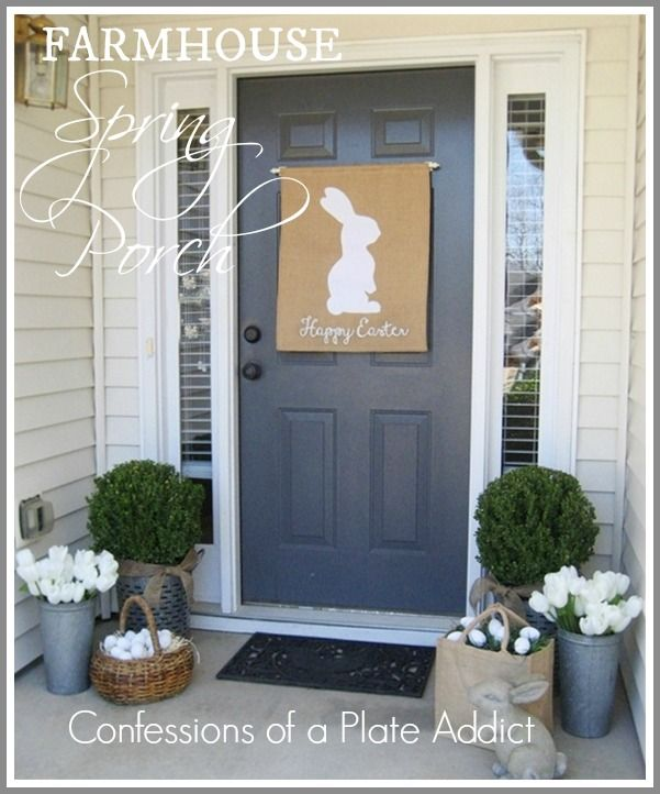 """Style your porch with buckets, faux eggs and a bunny banner, to say """"Happy Easter!"""""""
