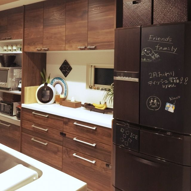 Achuさんの、Kitchen,観葉植物,食器,IKEA,DIY,レトロ,カフェ風,アジアン,バリ風,冷蔵庫リメイク,黒板シート,バリリゾートについての部屋写真