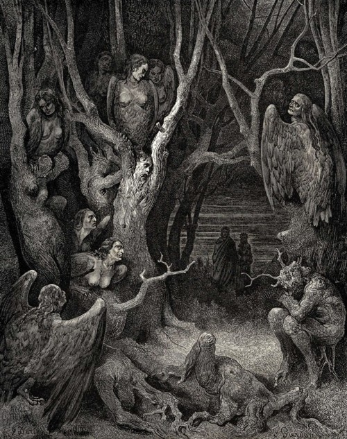"My favorite canto in all the Divine Comedy - the wood of the suicides in VIII. When Dante must break a branch to hear the bramble tell their stories and the ""words and blood"" flow together like ill favored sap. What an image."