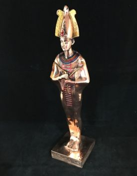 Osiris Bronze coloured Statue, approx 33cm High. Osiris is said to be the God of life, death and fertility and considered to be one of the most important Gods during the time of Ancient Egypt.  Made in Egypt