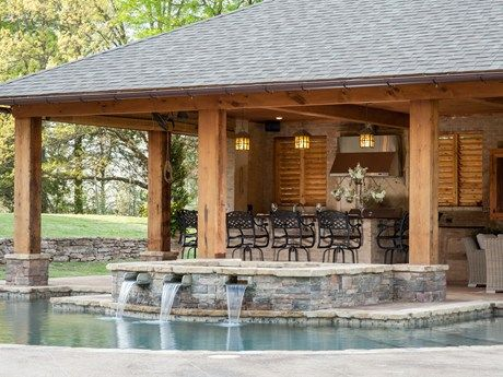 Rustic Pool House in Mississippi
