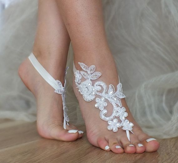 Free Ship White Black or ivory Gold Champagne lace barefoot sandals Beach wedding barefoot sandals, Flexible wrist lace sandals, Sandals