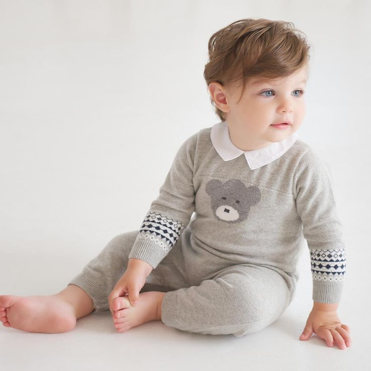 Knitted Romper with Pattern - Babysuits and Rompers - Baby boys | Dave Bella Kids Clothes http://www.davebella.co.uk/