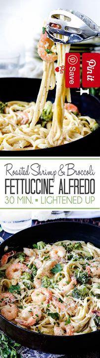30 Minute Roasted Shrimp and Broccoli Fettuccine Alfredo - Savor velvety creamy no hassle 30 Minute Roasted Shrimp and Broccoli Fettuccine Alfredo that tastes every bit as decadent as the finest Ingredients Seafood 12 oz Shrimp medium Produce 1 tsp Basil dried 4 cups Broccoli florets 4 Garlic cloves  tsp Garlic powder  tsp Onion powder  tsp Parsley dried 1 Parsley fresh 1 Shrimp and broccoli Roasted Canned Goods 1  cups Chicken broth Condiments 1 Lemon juice Pasta & Grains 12 oz Fettuccine 1…