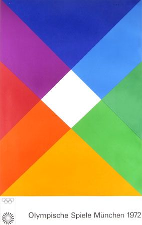 Max Bill's poster for the 1972 Munich Oylmpic Games is inspired by Johannes Itten and the Bauhaus colour theorists.