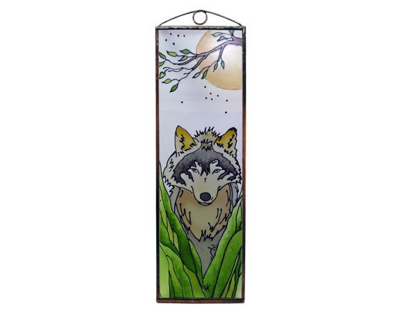 Wolf Hunting  Painted Glass by KorosiArt on Etsy