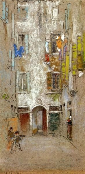 Corte del Paradiso, 1880 by James McNeill Whistler. Tonalism. cityscape. Private Collection