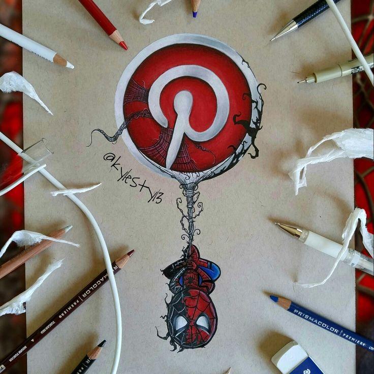Pinterest and Spiderman Social Media Mash Up Drawing