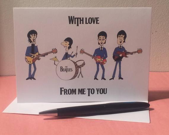 the beatles  song lyrics greetings card  birthday