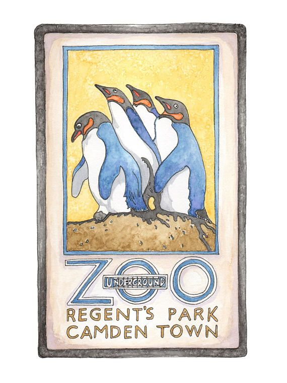 High quality, Signed & Mounted illustrated Print of Regents Park London Zoo.  London Zoo, The worlds oldest scientific zoo is home to over 20,000 furry (and bald and scaly) individuals. This illustration is tribute to the very talented Charles Paine's iconic 1920 London underground poster.  This original illustration was hand drawn and painted by myself as part of my London series. All of my landmarks start off as pencil sketches, mature into detailed black ink drawings and come to life w...