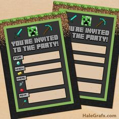 FREE Printable Minecraft Birthday party Invitation                                                                                                                                                                                 More