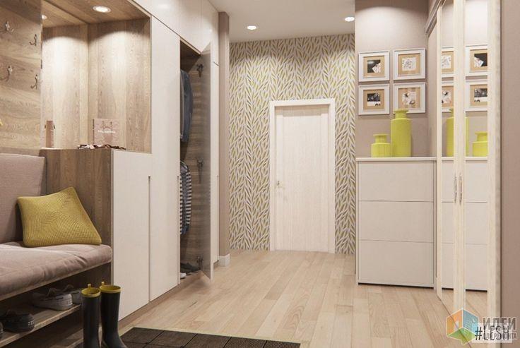 рихожая выполнена в спокойных, бежевых тонах. Из особенностей - организация сидячего места в шкафу, с системой хранения обуви под ним, и 3D панели на стене вокруг входной двери.