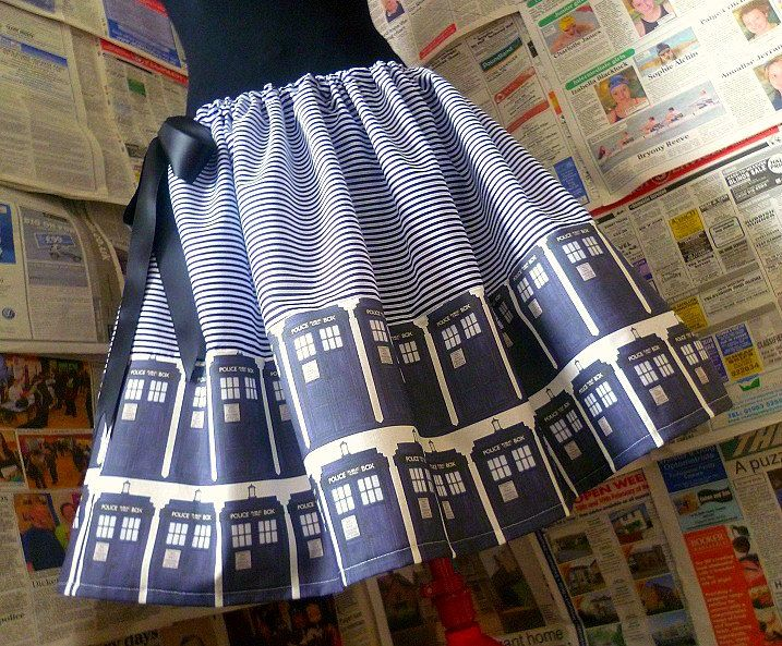 Dr Who Dress, Dr Who Skirt, Tardis Skirt, ORIGINAL Skirts From ROOBYS, Geek Clothes. £40.00, via Etsy.