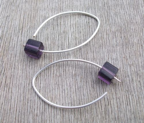 Purple Cubist Eco-friendly Sterling Silver Contemporary Earrings http://www.feminine-fusion.com/store#!/~/product/category=4652233=25890191