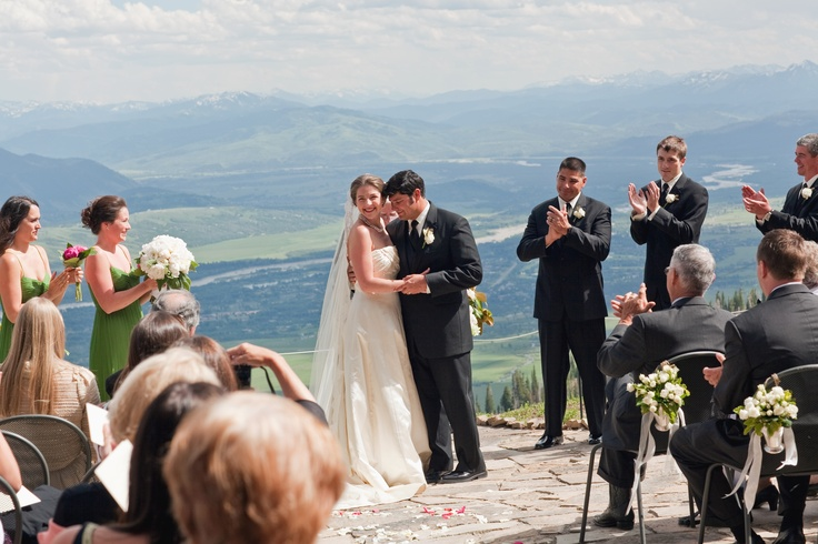 Ceramony with a view of the Jackson Hole valley.