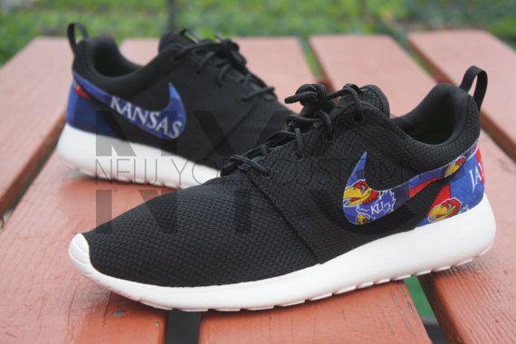 Nike Roshe Run Black Kansas University KU Jayhawks Custom