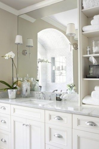 bathroom: Bathroom Bathroom, Bathroom Design, Bathroom Jessicanaomi, Masterbath, Bathroom Ideas, White Bathroom, Jessicanaomi Bathroom, White Cabinets, Master Bathroom