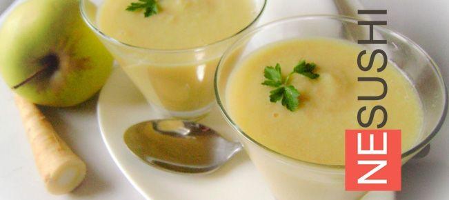 Яблочный суп-крем с пастернаком ===================== Суп-крем с необычным составом и оригинальным, условно сладким вкусом — играют яблоки и пастернак :-)
