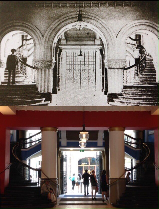 York St entrance of just completed QVB 1898 and same view 2016. [1898-City of Sydney Archives>2016-Phil Harvey. By Phil Harvey]