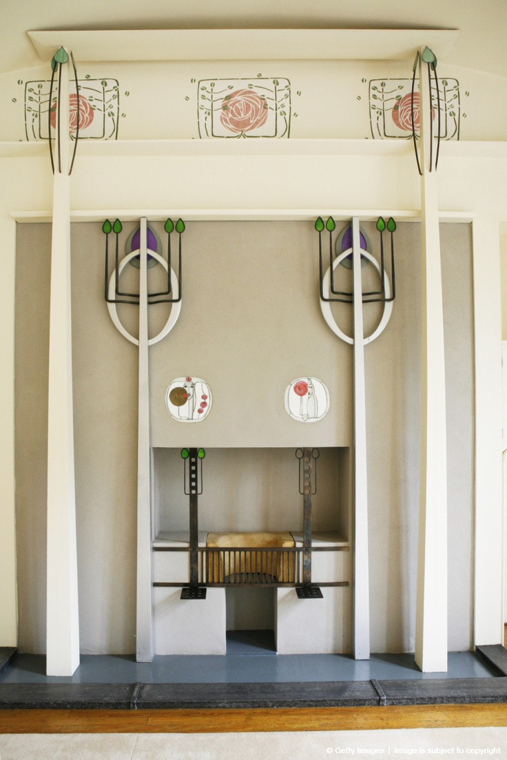 Charles Rennie Mackintosh design detail in the Music Room of House for an Art Lover, a cultural attraction and Glasgow's finest private dining venue set in Bellahouston Park., Glasgow, Strathclyde, Scotland. @designerwallace