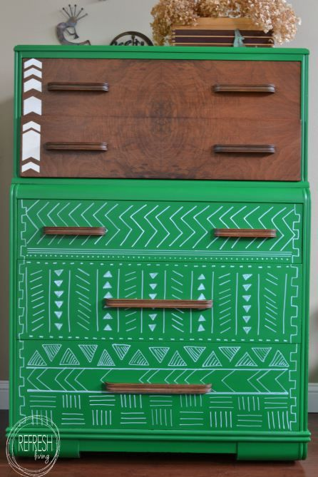 "Can't get enough of this tribal dresser from  Refresh Living!  It's been painted with GF Emerald Milk Paint was part of the September ""Geometric Design"" Fab Furniture Flippin' Contest (http://www.fabfurnitureflippincontest.com/) sponsored by GF."